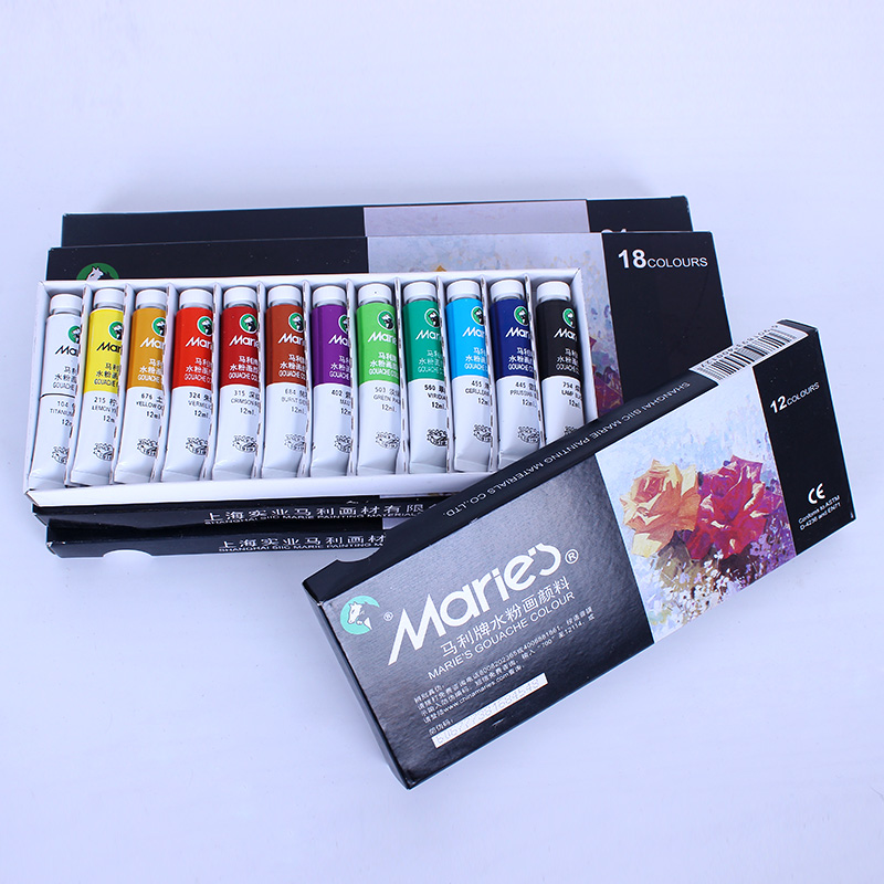 Marley gouache paint pigment suit marley brand gouache paint 24 color 12 color 18 color 36 color gouache suit