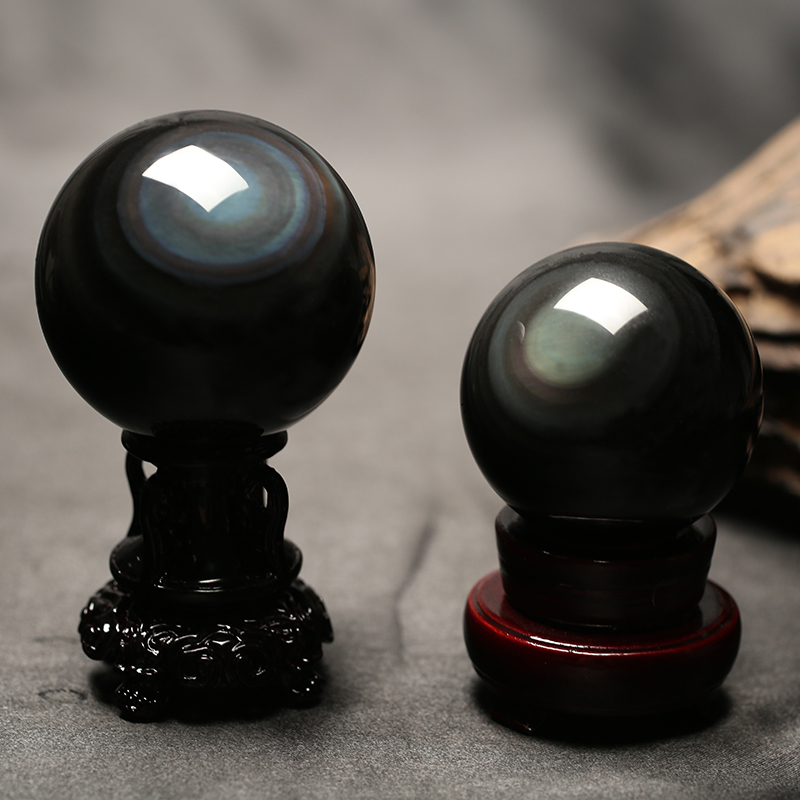 Masaharu genuine natural obsidian ball ornaments natural color eye obsidian crystal ball ornaments original stone grinding