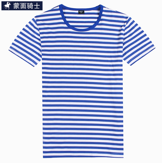 Masked rider summer men short sleeve t-shirt striped sea striped shirt lovers men's navy sailor wind compassionate