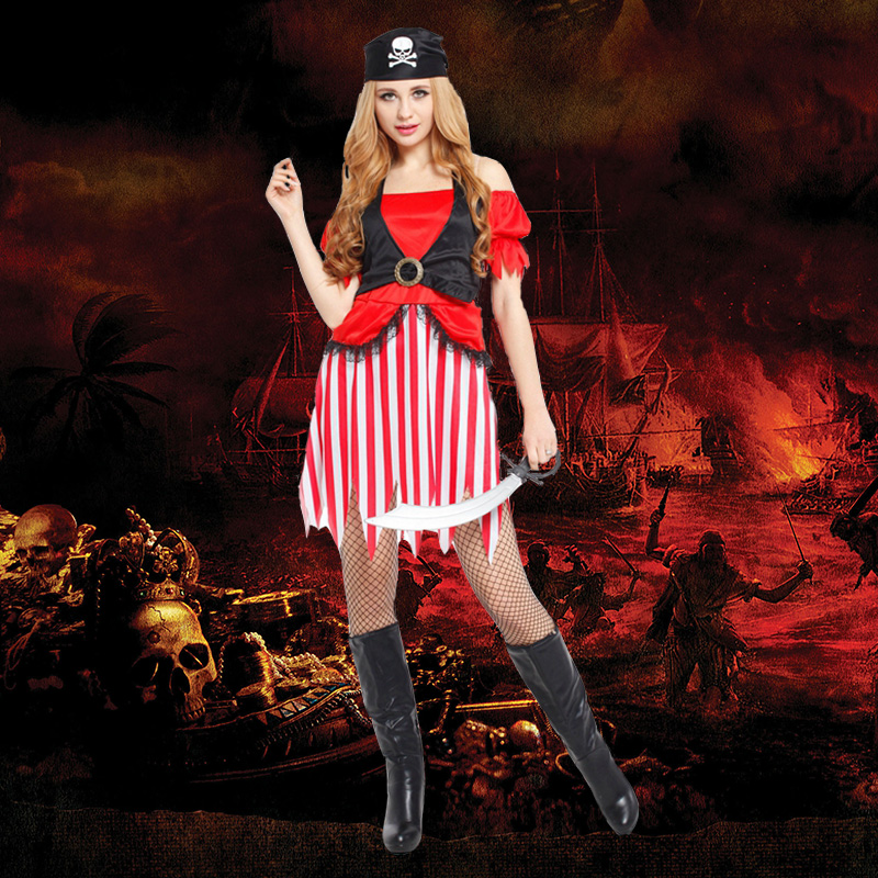 Masquerade performances costume cos adult female pirate costume halloween costume female pirate ship for long service