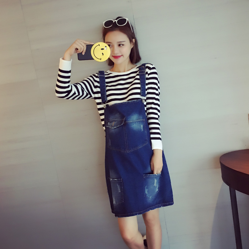 a8fb2cbce60 Get Quotations · Maternity 2016 winter new denim strap dress and long  sections of pregnant women skirt korean version