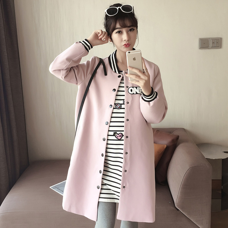 Maternity autumn korean fashion pregnant women pregnant autumn long sleeve blouse loose pregnant women outer sleeve long section of the spring and autumn tide mom