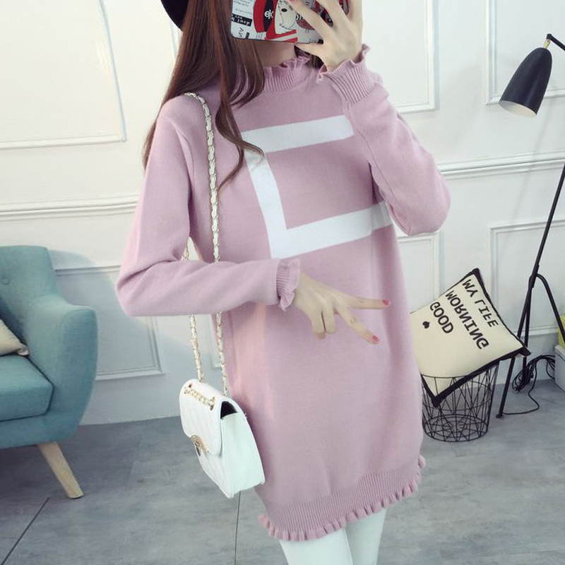 Maternity fall and winter sweater with high collar and a half high collar and long sections korean version of a solid color in autumn and winter sweater dress for pregnant women