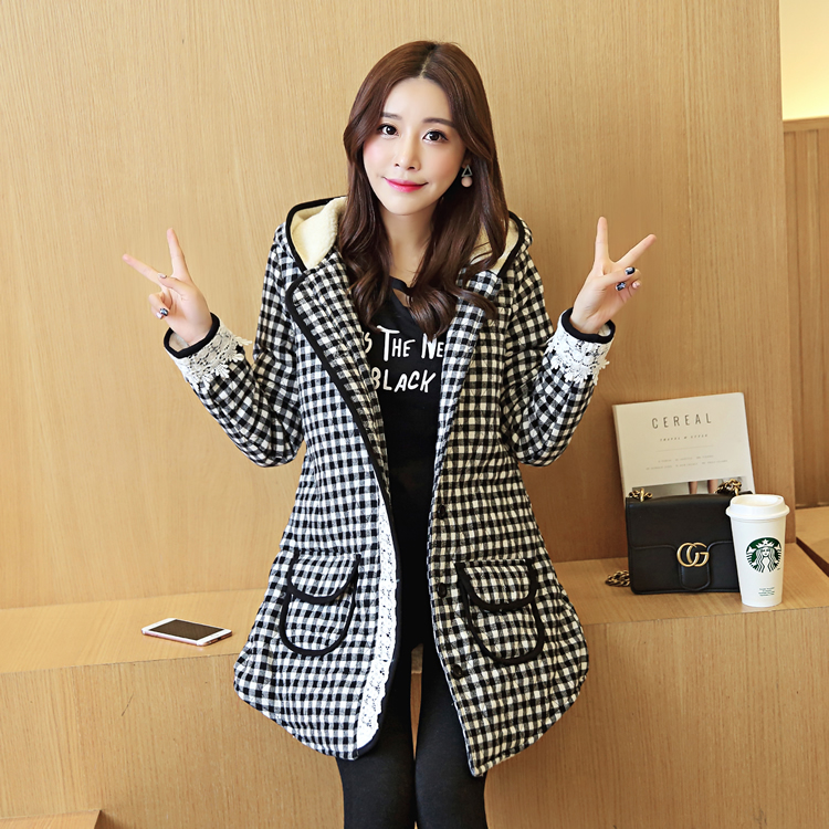Maternity winter coat pregnant women pregnant women coat jacket plus thick velvet autumn and winter fashion houndstooth jacket pregnant women