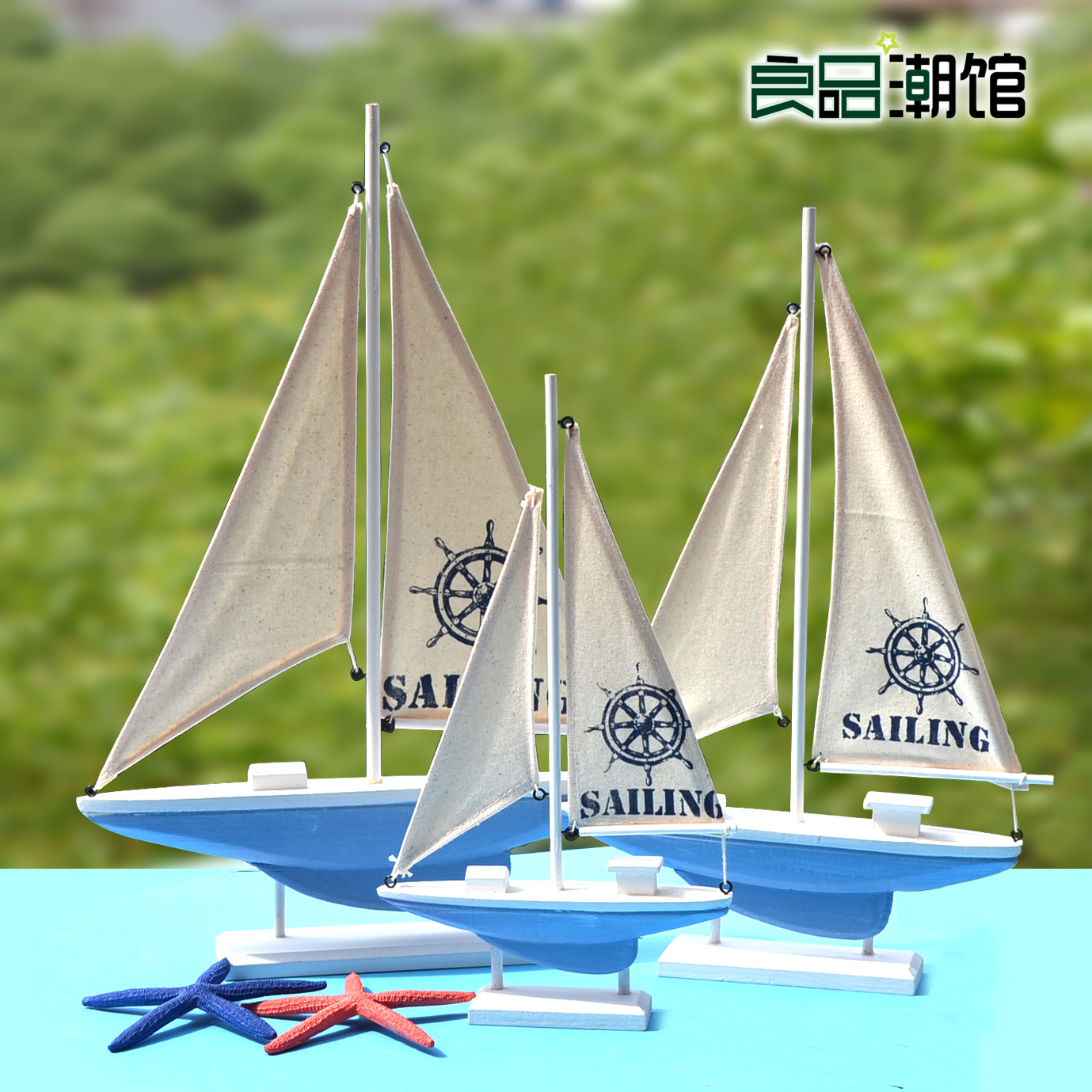Mediterranean handmade wooden model sailing ship soft furnishings decoration smooth sailing craft boat ornaments clapboard
