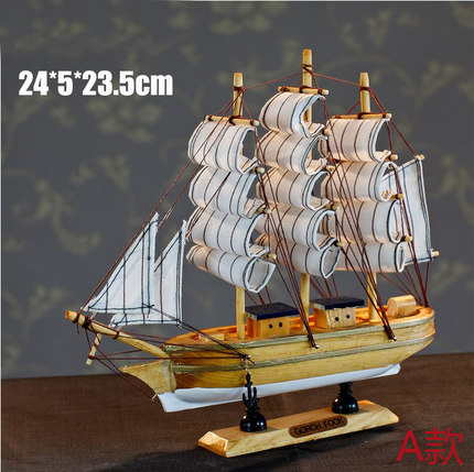 Mediterranean style decorative ornaments handmade wooden sailboat model sailboat model sailing ship model workers arts and crafts
