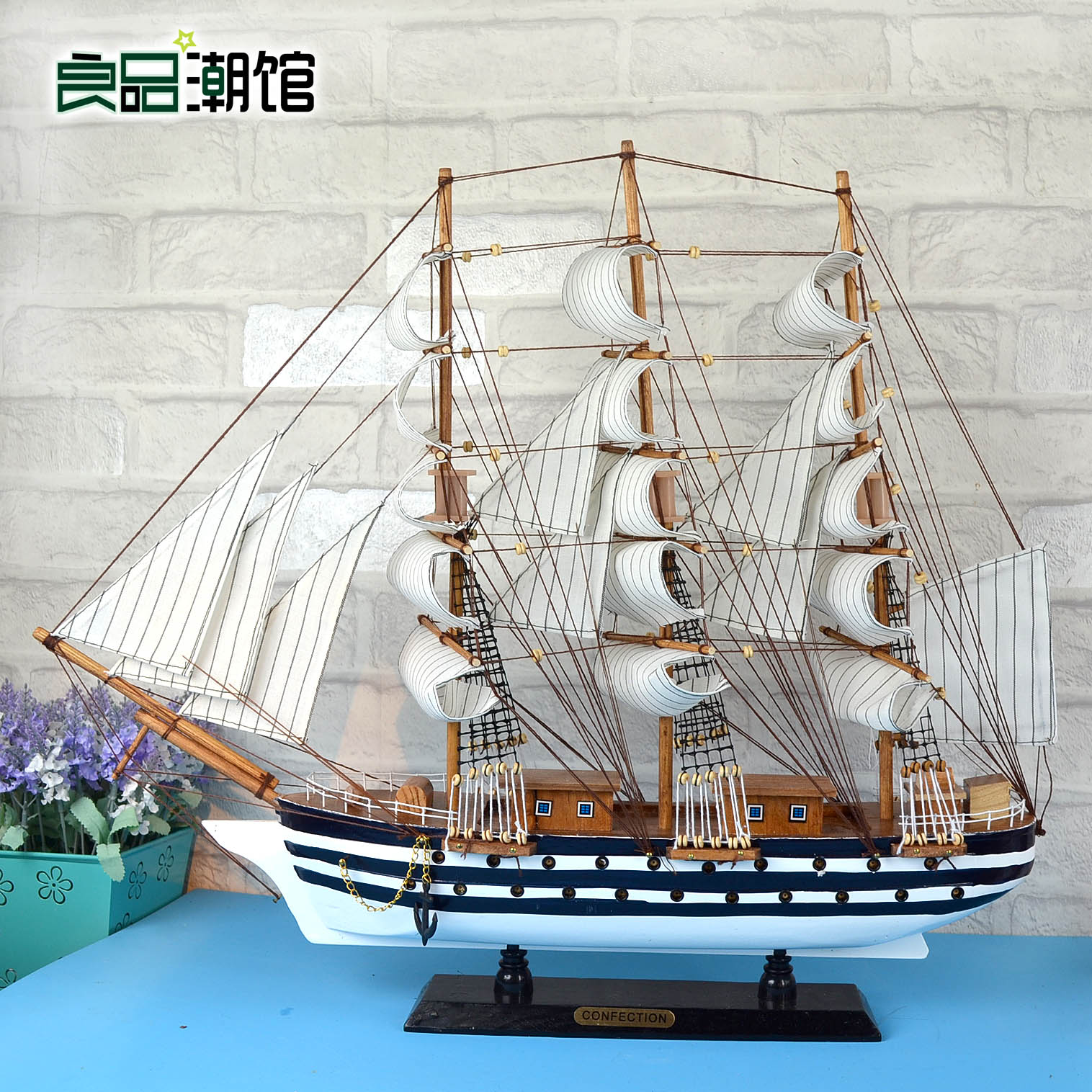 Mediterranean style wooden model sailing ship model graduation housewarming gift crafts decorations den entrance