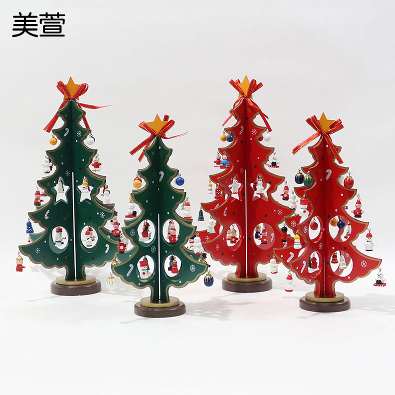 Mei xuan christmas woodiness desktop ornaments creative gifts gift dimensional christmas tree decorations christmas tree