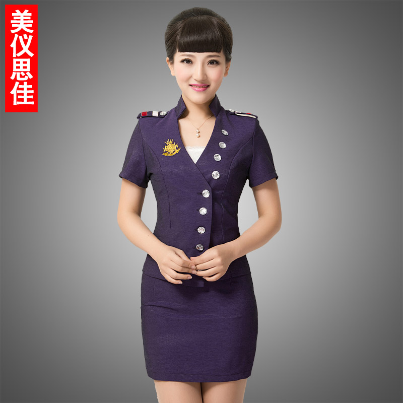 Mei yee scala f-13 hotel uniforms summer stewardess uniforms career suits ktv uniforms suit reception