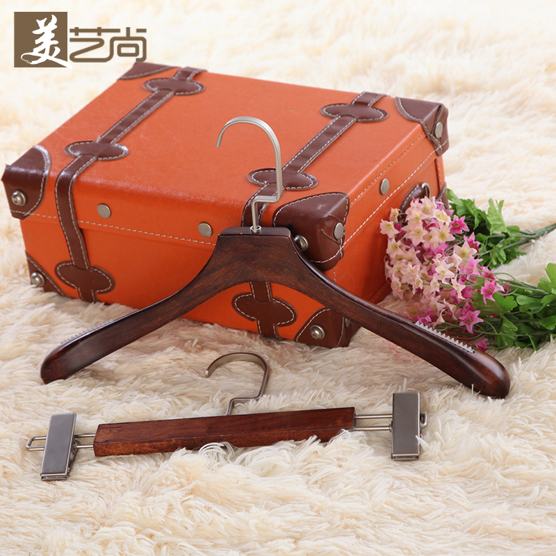 Mei yi shang grade wood hangers clothes hangers hanging vintage antique wooden clothes rack clothing store for men and women pants hanger clip