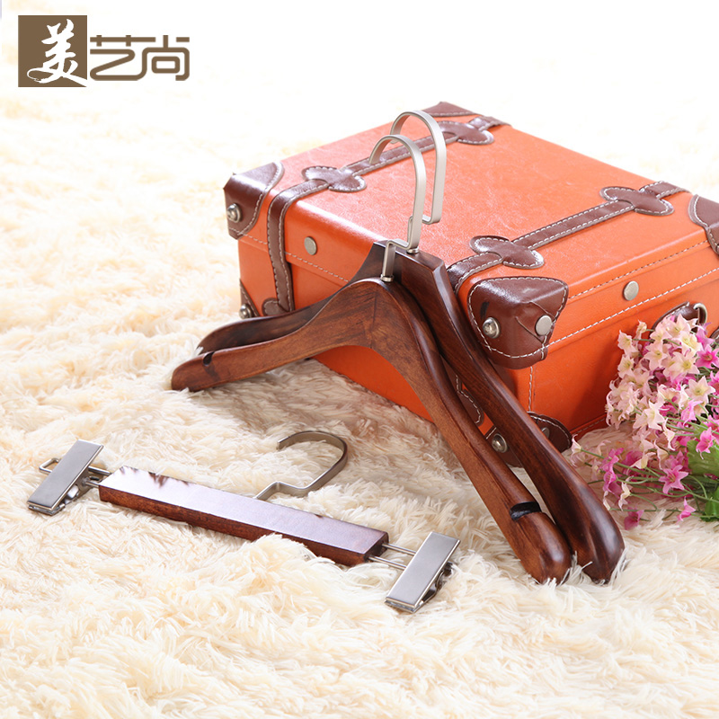 Mei yi shang upscale clothing store hangers wood hangers for men and women retro vintage wooden hanger wooden clothes rack