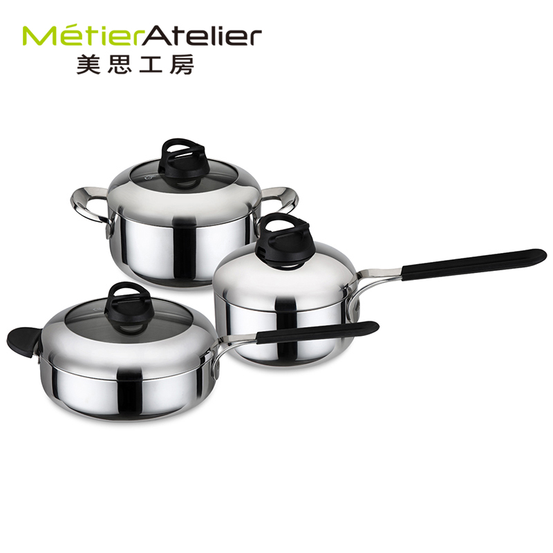 Mels kobo 304 stainless steel kitchen set nonstick pot milk pot frying pan cookware set three loaded
