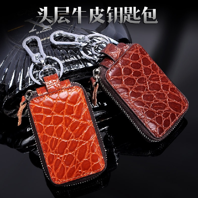 Men women leather car key cases retro crazy horse hide leather first layer of leather keychain