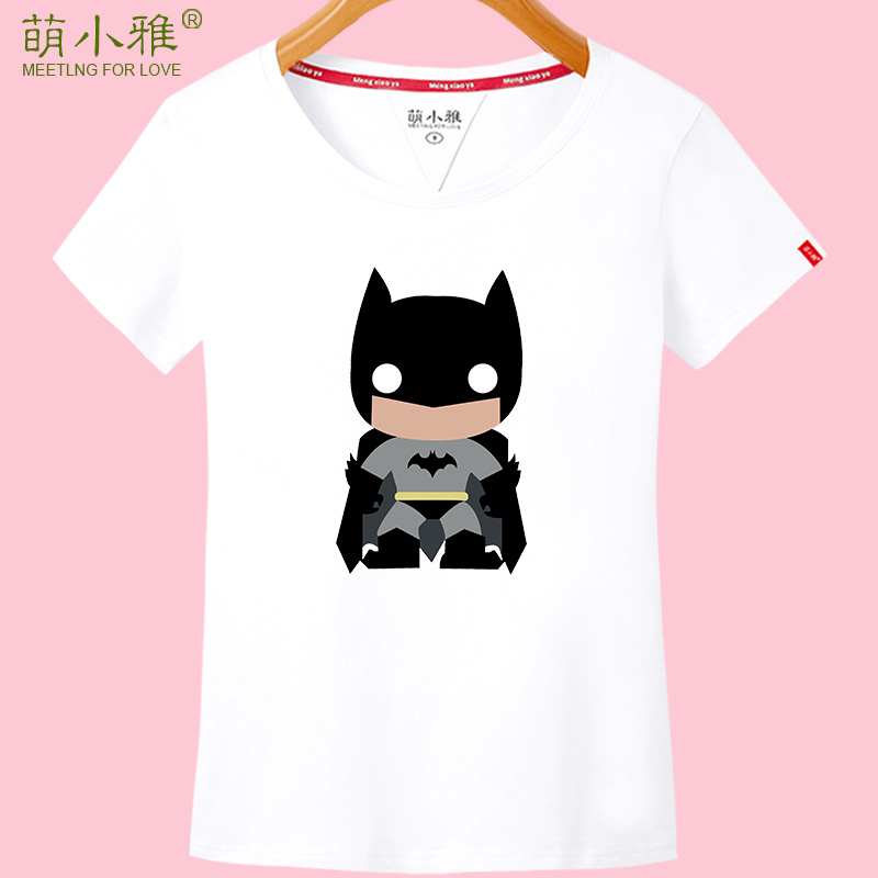 Meng xiaoya 2016 new korean version of the cartoon short sleeve t-shirt female summer fashion slim round neck t-shirt printing short t-shirt
