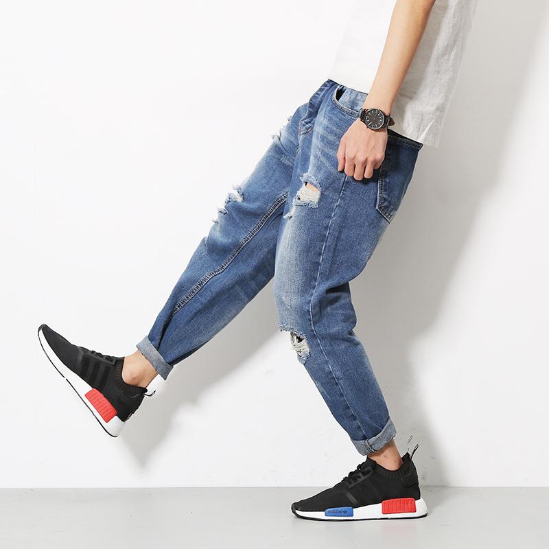 5038774b12e6b Get Quotations · Men's broken copper ripped jeans japanese original with  the money right zhilong gd hip-hop