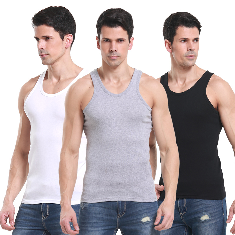 Men's cotton solid color cotton slim tight vest sports and fitness backing undershirt male summer influx of male cotton spring and summer