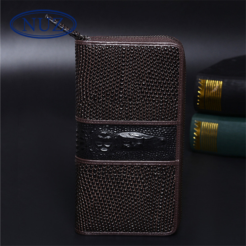 Men's personality nuz leather wallet brand hong kong classic crocodile pattern leather zipper clutch bag korean version wallet 1093