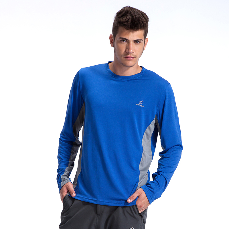 Men's round neck long sleeve wicking t-shirt fast drying polyester mesh wicking moisture wicking t-shirt