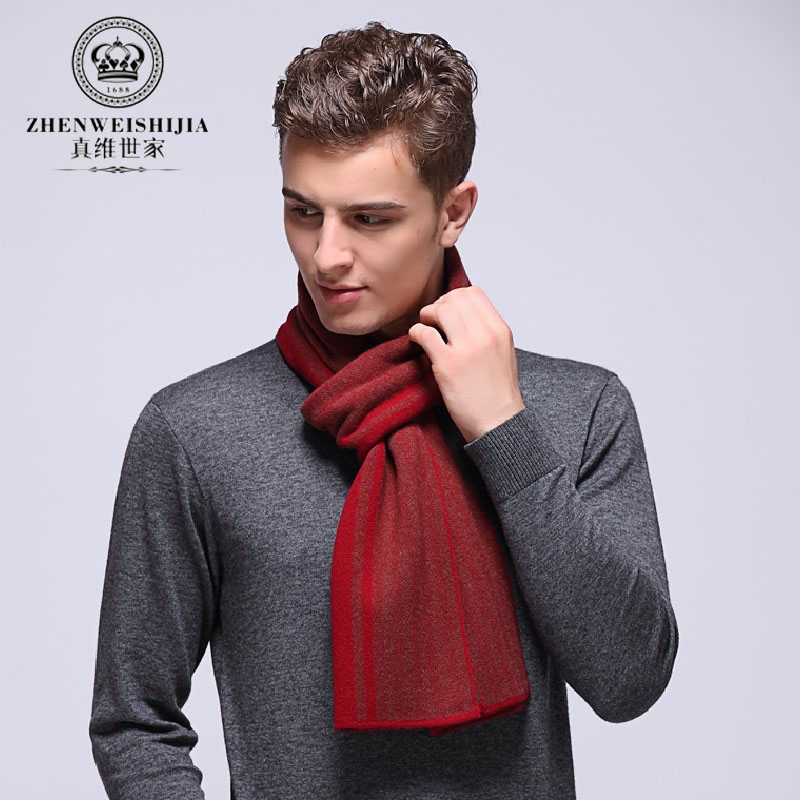 Men's scarf striped wool scarf male british style winter warm scarf thicker section 2016 red
