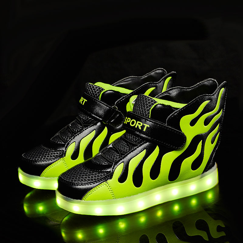 Men's shoes in autumn children's lit rechargeable led colorful luminous luminous shoes girls flashing lights sneakers shoes
