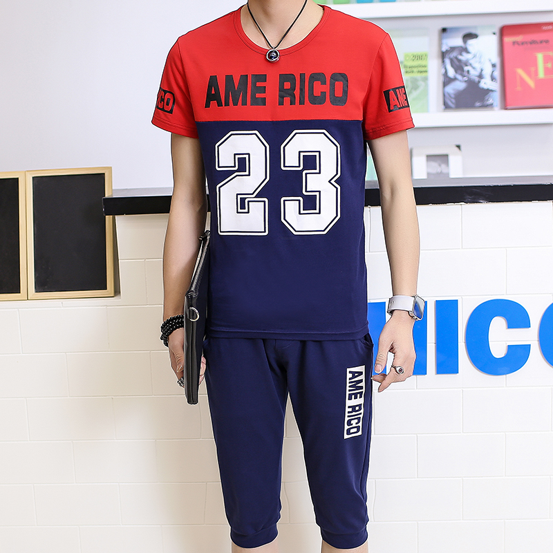 Men's sports suit summer new t-shirt large size clothing for men and casual sportswear jogging suits summer 7 men shorts suit seventh