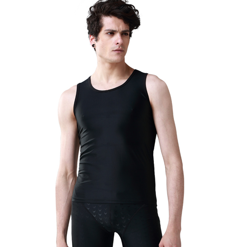 Men's swimwear men's vest high elastic tight black t-shirt swimwear cover scars tattoo
