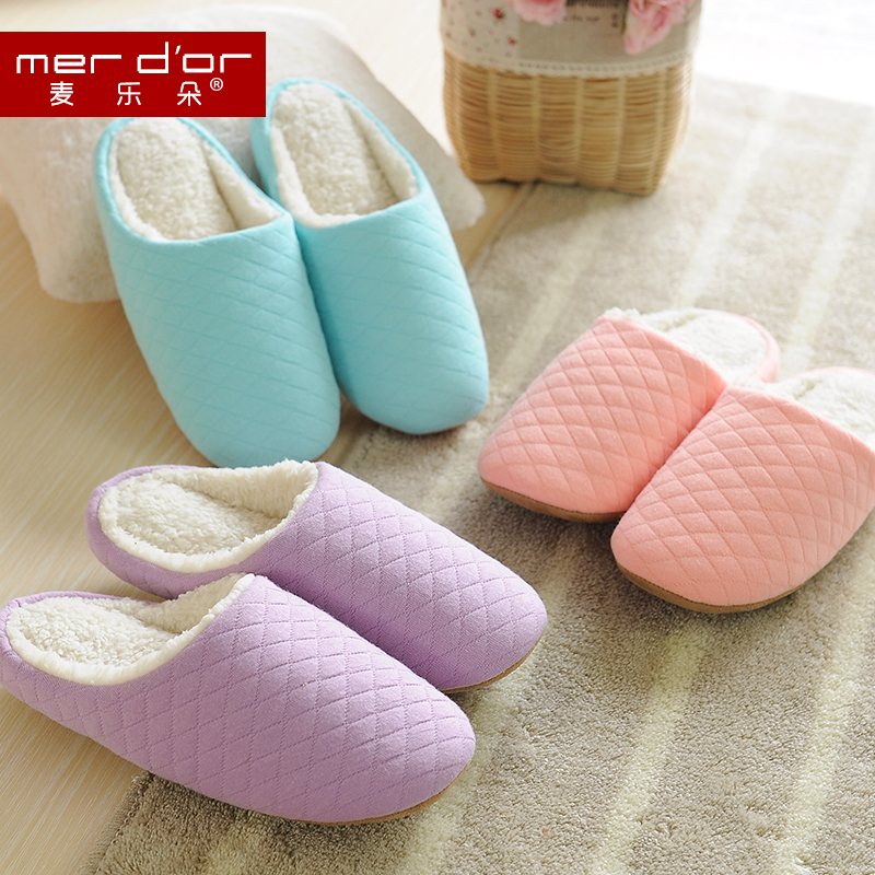 Merdor quilted winter indoor cotton slippers couple warm cotton slippers silent floor carpet slippers home slippers female