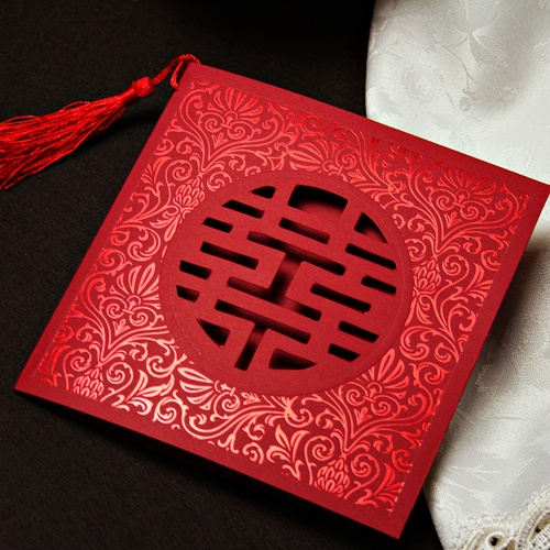 Met the love marriage square personalized invitations invitations wedding invitations chinese wedding invitations custom wedding supplies