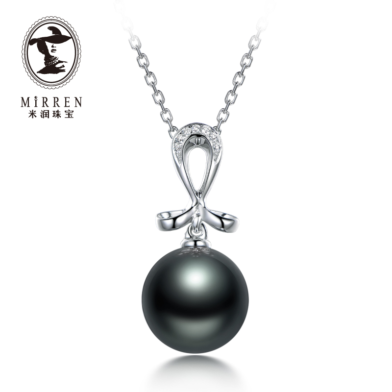 Meter run jewelry tahitian black pearl pendant perfect circle female models women 'students seawater pearl earrings k white gold