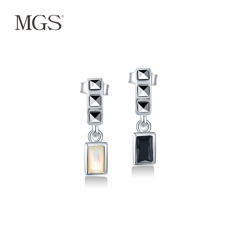 Mgs mangu silver/bangkok agates happiness ladder series 925 silver earrings earrings female