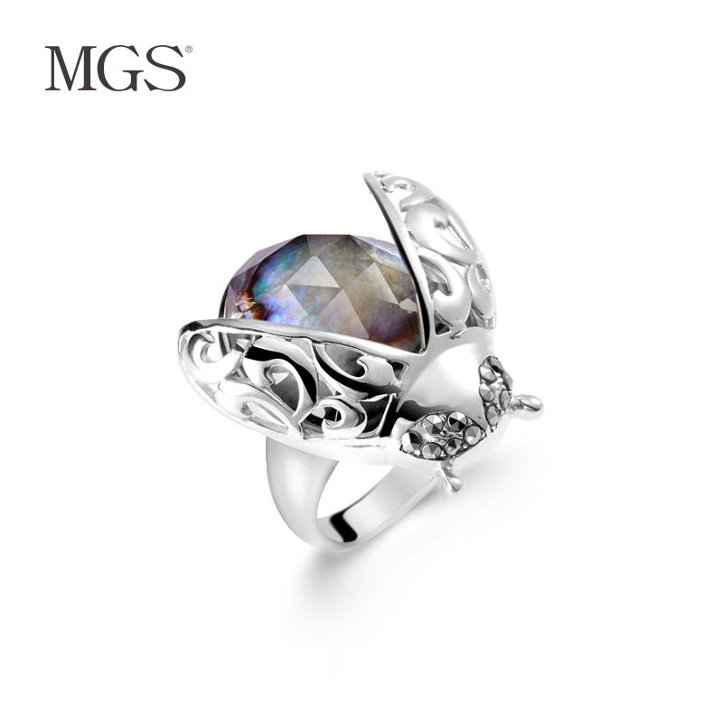 Mgs/mangu silver bangkok silver bracelet female retro fashion silver decorative ring ring korean version of the creative design positive brand women