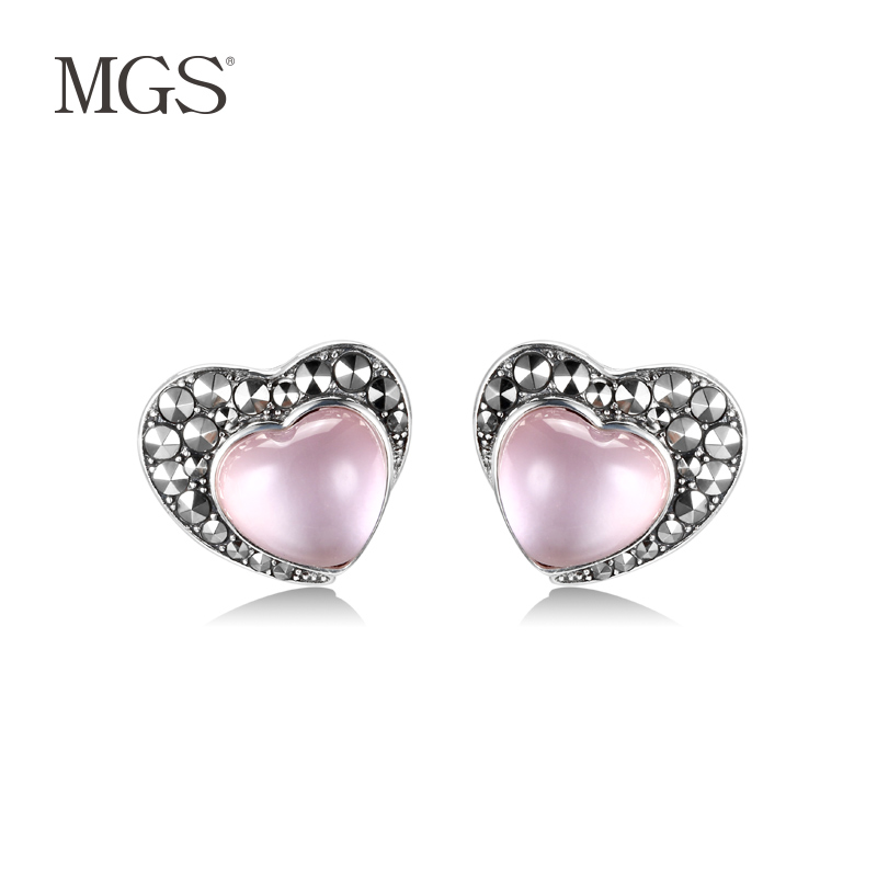 Mgs/mangu silver bangkok silver female positive brand creative decorative retro fashion earrings shaped earrings earrings japan and south korea
