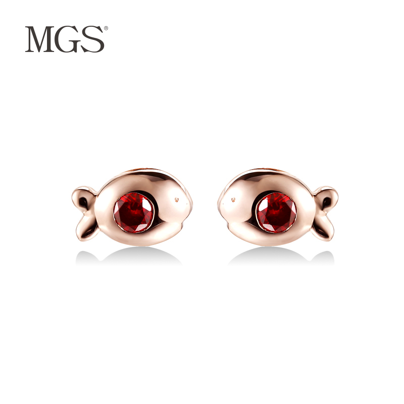 Mgs/mangu silver bangkok silver gift gold-plated korean personality retro earrings earrings earrings female models kissing fish mouth