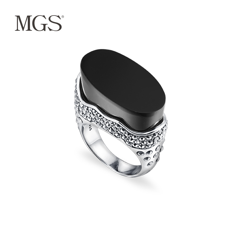 Mgs/mangu silver retro bangkok agates marcasite inlaid rings personalized fashion wild s925 silver
