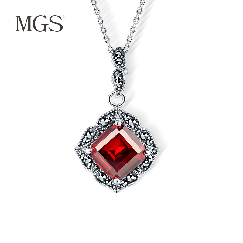 Mgs/mangu silver retro bangkok detachable chain personality inlay inlay pomegranate zirconium necklace necklace gift s925