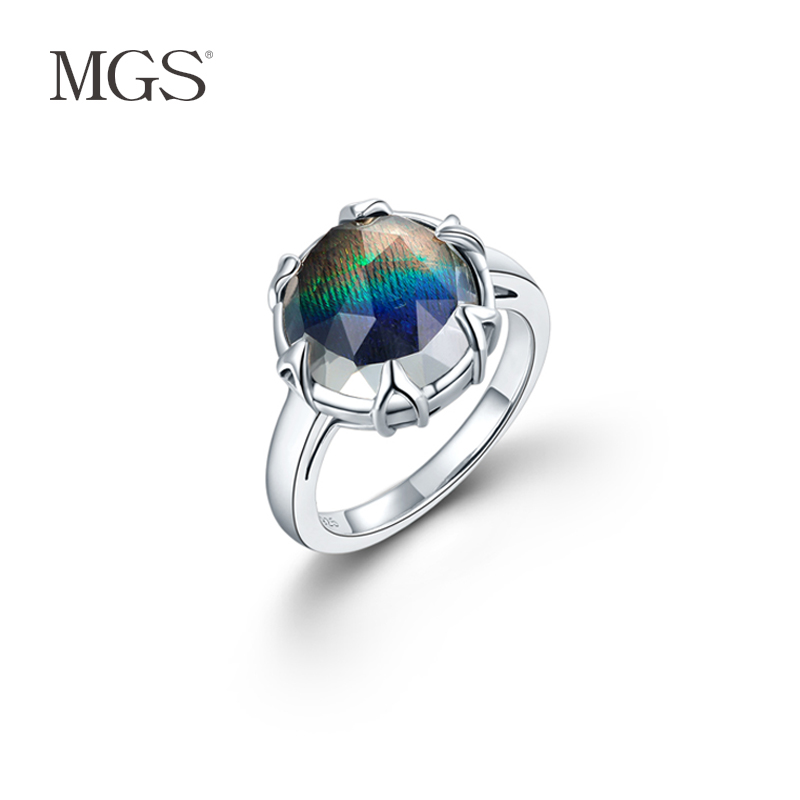 Mgs mangu silver/silver retro bangkok s925 silver inlaid natural white crystal ring ring female peacock feathers