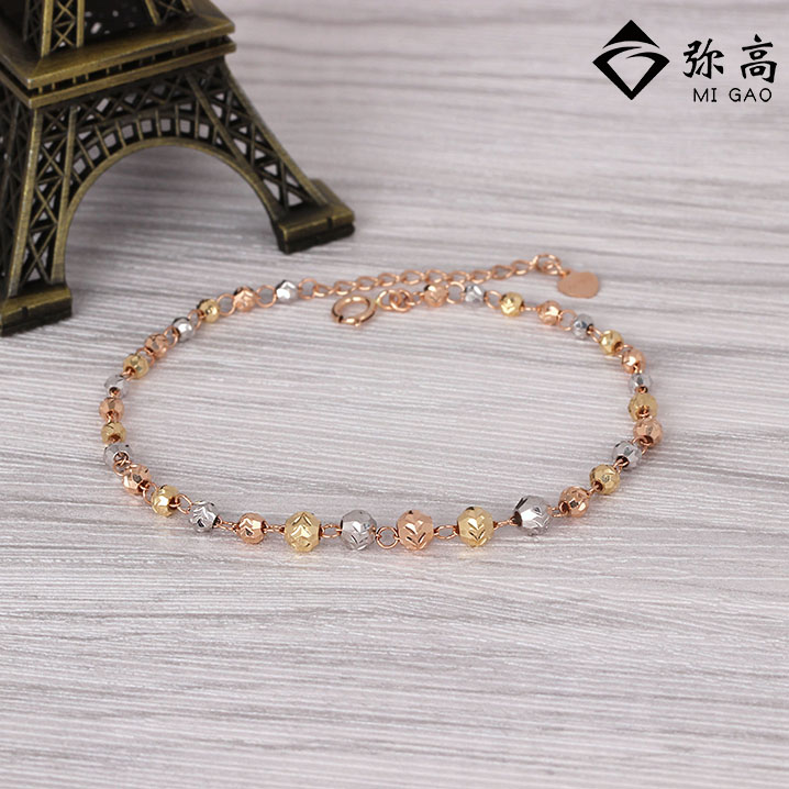 Mi high 18k-color gold jewelry male and female models simple car flower beads bracelet beads can be adjusted goods brand authentic free shipping
