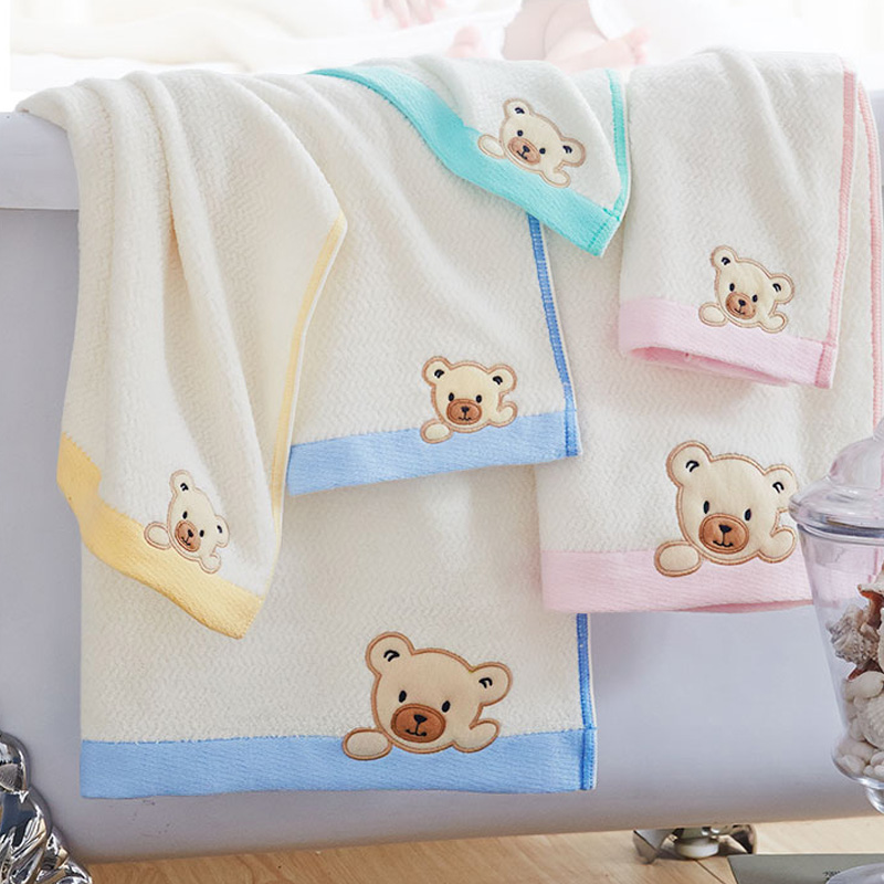 Michelle j children cotton bath towel children super super soft baby blankets baby bear embroidered tp series