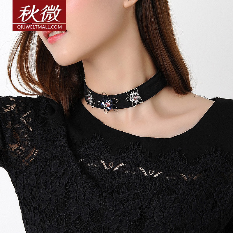 Micro autumn 2016 korean version of the collar neckband beaded necklace female clavicle short paragraph necklace neck chain fashion jewelry fake collar