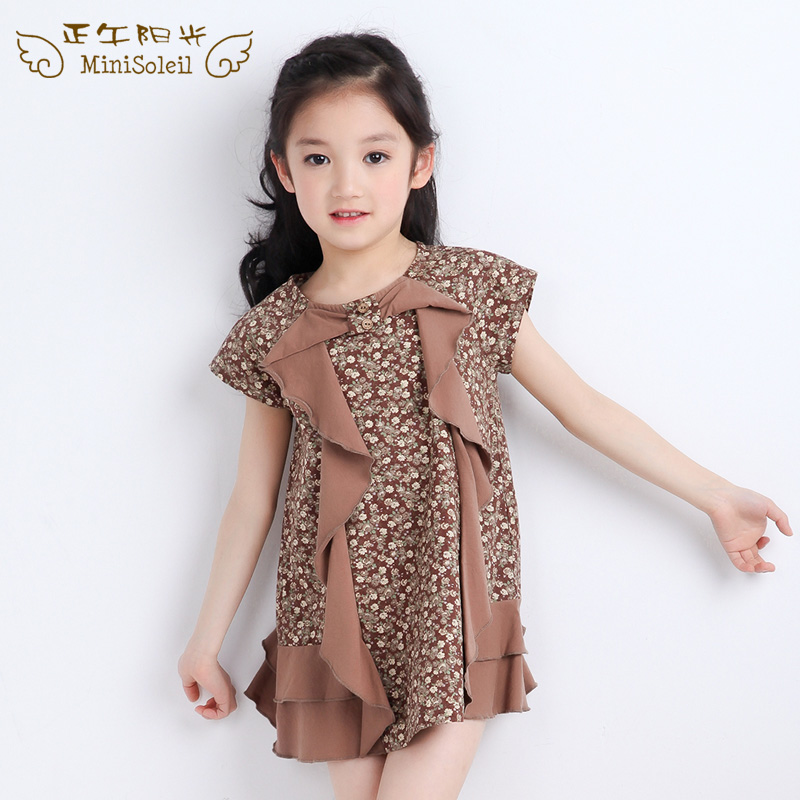 Midday sun summer new children's clothing children girls fungus lace cotton floral dress child dress princess dress