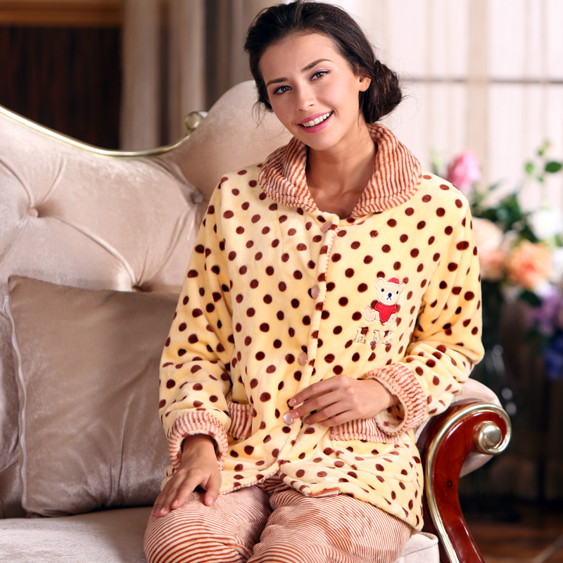 Middle-aged autumn and winter female thick flannel long sleeve pajamas coral velvet warm casual tracksuit xl pyjamas