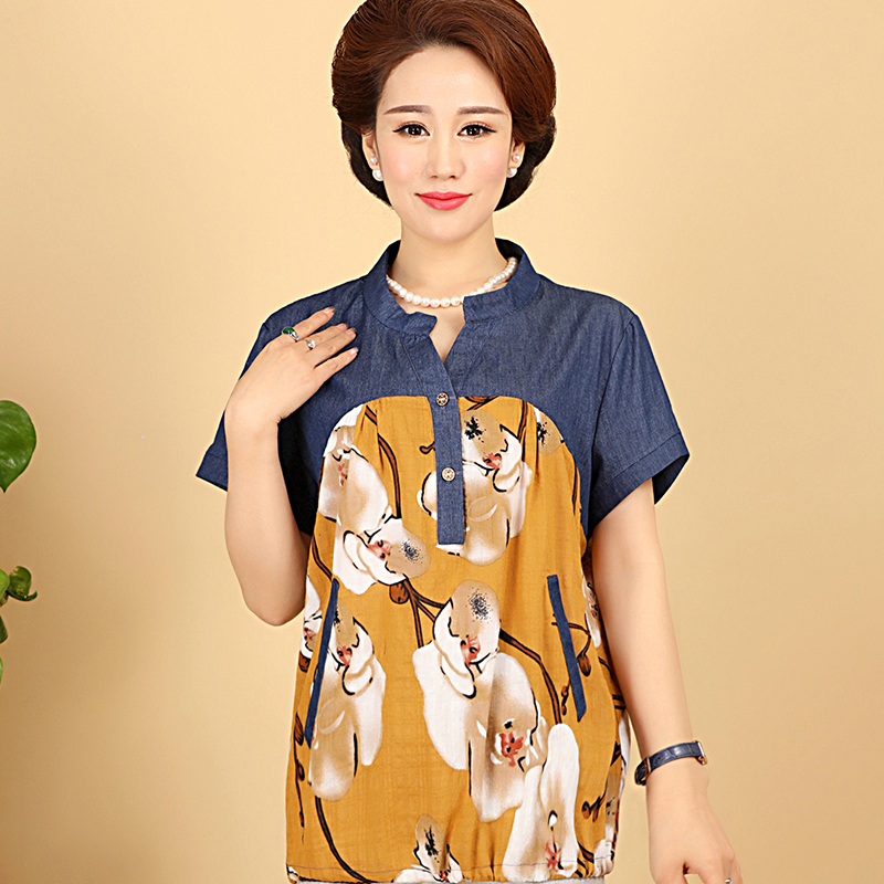 Middle-aged cotton short sleeve t-shirt summer middle-aged mother dress large size women 50-60-year-old grandmother fitted cotton shirt