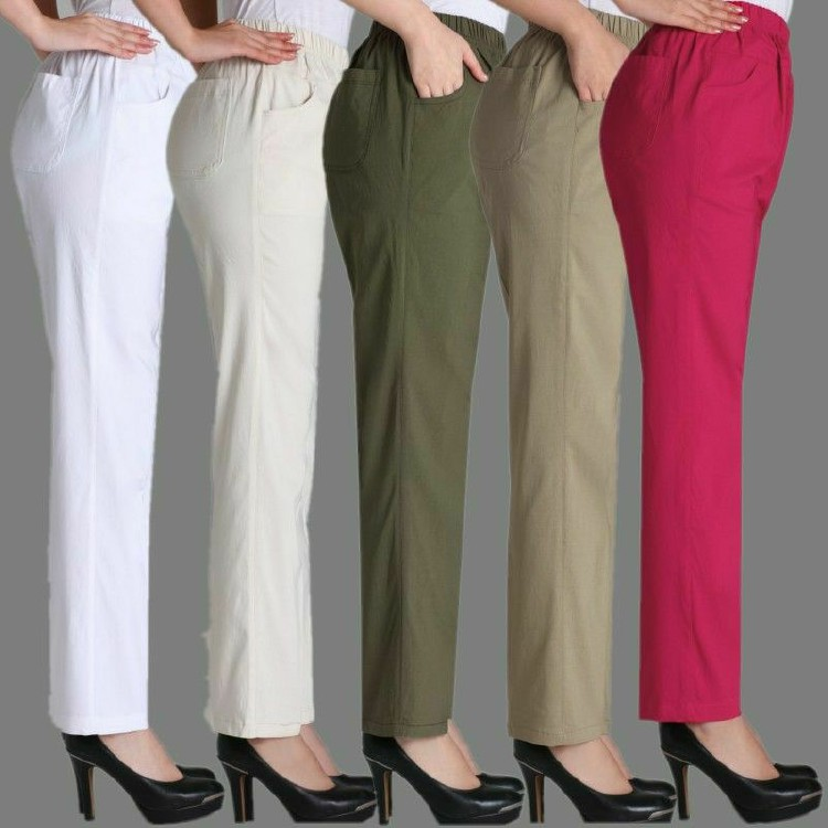 Middle-aged ladies spring and summer thin section cotton loose big yards elastic waist casual pants big yards mom pants trousers elastic force