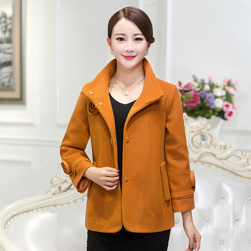 Middle-aged middle-aged ladies woolen coat fall and winter clothes 40-50-year-old middle-aged mother dress coat woolen coat female short paragraph