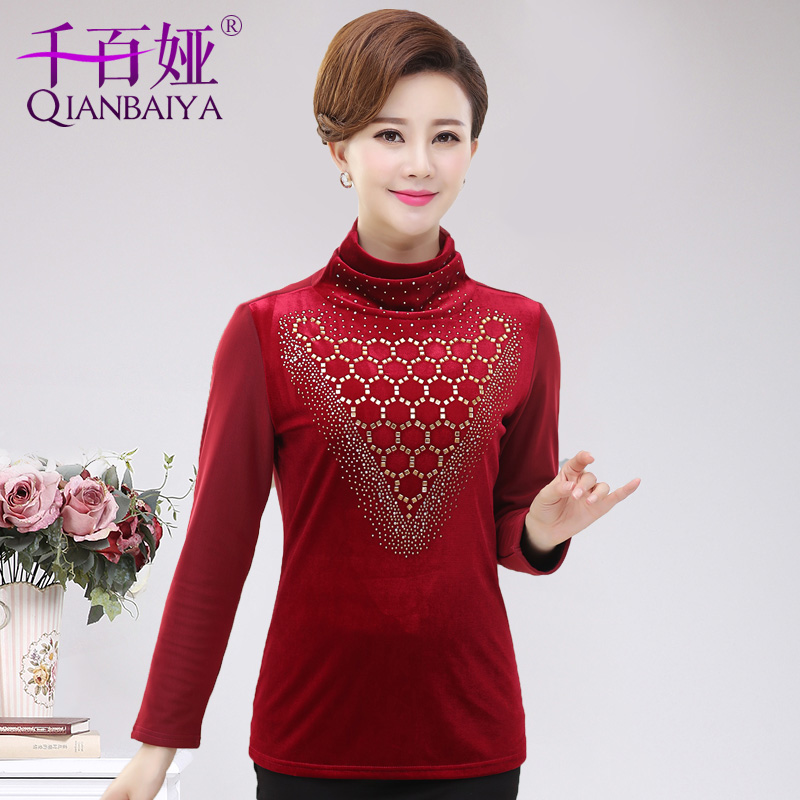 Middle-aged middle-aged women plus velvet thick warm bottoming shirt 40-50-year-old middle-aged women mom mother dress long sleeve t-shirt shirt