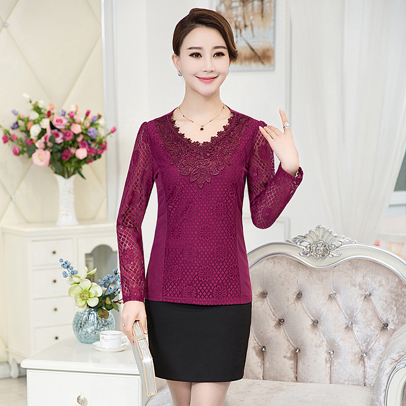 Middle-aged middle-aged women's summer chiffon shirt long sleeve t-shirt middle-aged mother dress lace bottoming shirt t-shirt shirt female