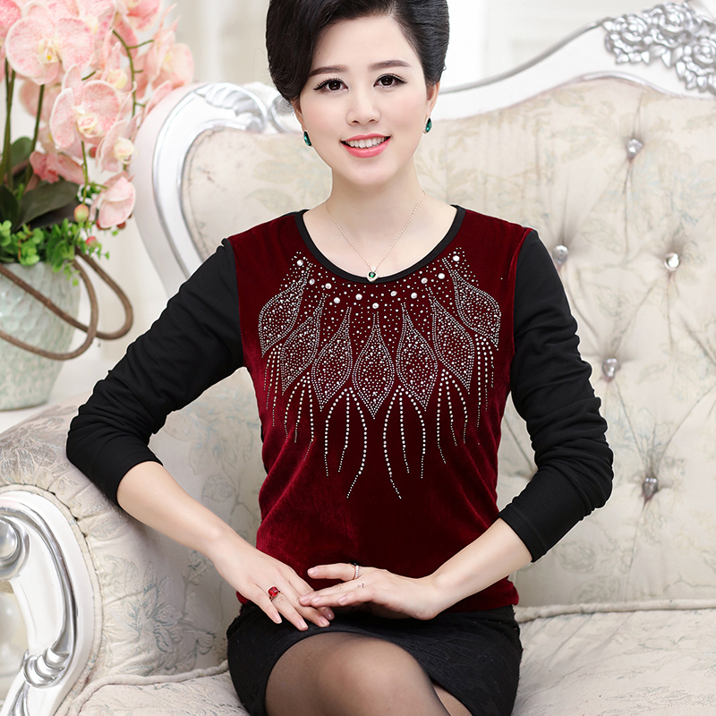 Middle-aged middle-aged women's t-shirt plus velvet warm middle-aged mother dress slim thick sweater hit bottom shirt 40-50-year-old elderly