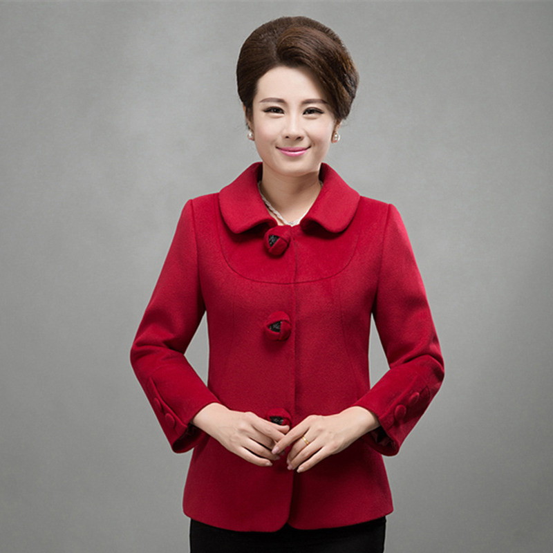 Middle-aged middle-aged women's wool coat fashion mother dress middle-aged female short paragraph woolen coat woolen winter coat