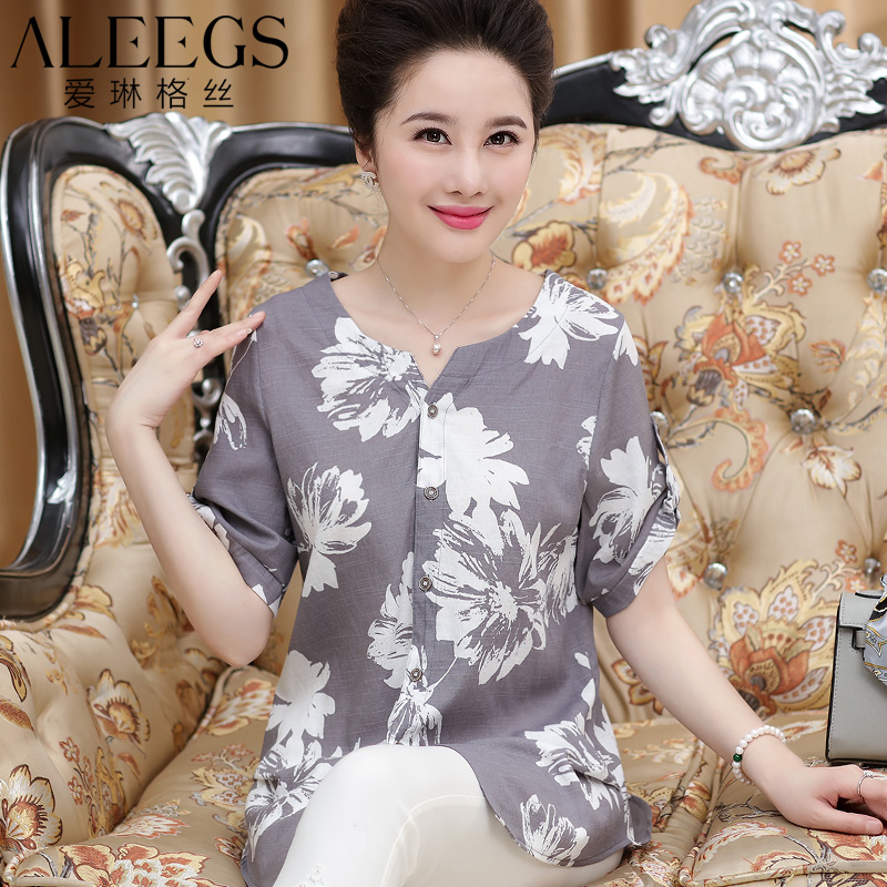 Middle-aged mother dress summer women's loose t-shirt printing 40-50-year-old middle-aged women dress cotton short sleeve shirts