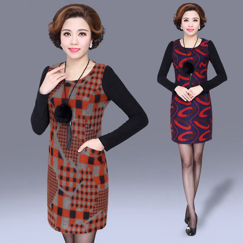 Middle-aged women's autumn and winter 30-40-50-year-old long section of the spring and autumn long sleeve t-shirt middle-aged middle-aged mother dress autumn dress